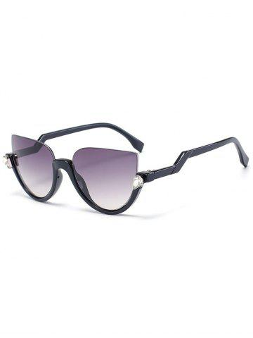 Shop Zigzag Legs Half Frame Cat Eye Sunglasses