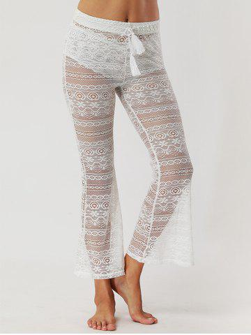 Affordable Lace See Through Flare Pants WHITE S