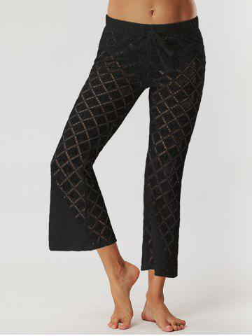 Chic Drawstring Waist Lace Sheer Flare Pants BLACK S