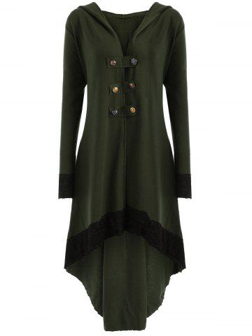 Buy High Low Hooded Plus Size Lace-up Coat ARMY GREEN XL