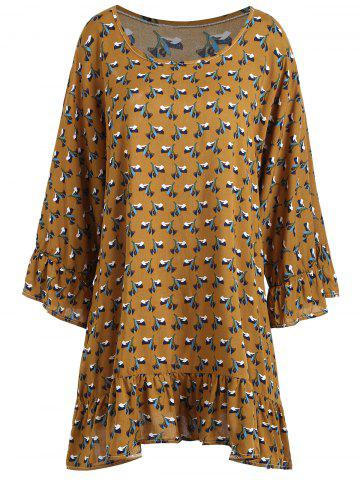 Shop Plus Size Ruffle Raglan Sleeve Graphic Blouse - 2XL EARTHY Mobile
