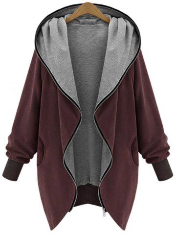 Trendy Hooded Plus Size Zip Up Coat WINE RED 5XL