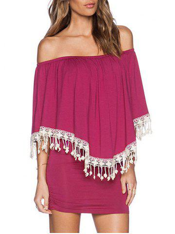 Cheap Off Shoulder Fringed Mini Overlay Dress TUTTI FRUTTI ONE SIZE