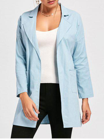 Trendy Drop Shoulder Double Pockets Side Slit Coat LIGHT BLUE 2XL