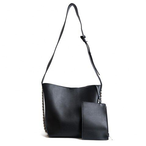 Affordable 2 Pieces PU Leather Shoulder Bag Set - BLACK  Mobile