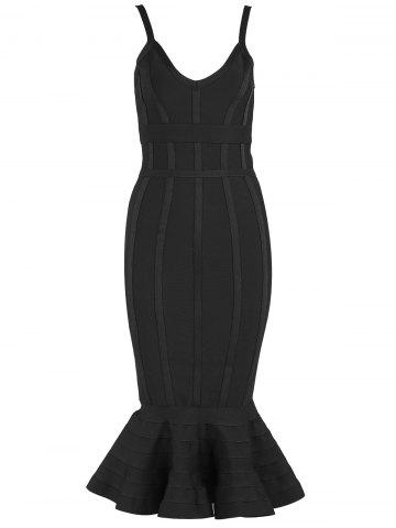 Best Bodycon Mermaid V-neck Slip Bandage Dress - XS BLACK Mobile