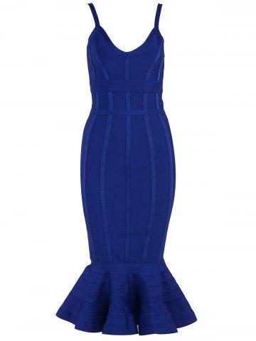 Bodycon Mermaid V-neck Slap Bandage Dress Bleu XS