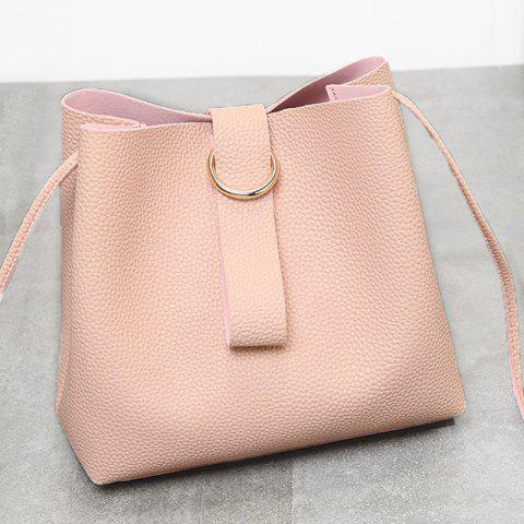Outfit Grommet PU Leather Handbag - PINK  Mobile