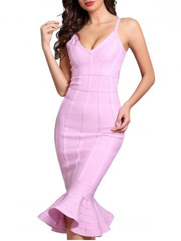 Affordable Bodycon Mermaid V-neck Slip Bandage Dress PAPAYA XS