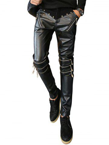 Fancy Zip and Rivet Embellished PU Panel Pants BLACK 34