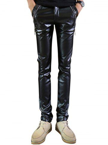 Online Zip Embellished Skinny Faux Leather Pants - 32 BLACK Mobile
