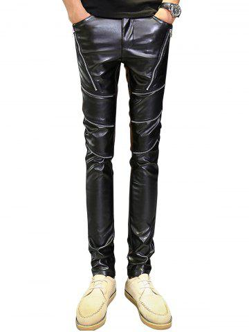 Fashion Zip Embellished Skinny PU Leather Pants - 36 BLACK Mobile