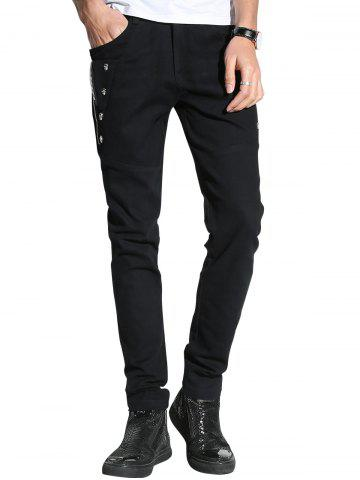 Cheap Slim Fit Skull and Zip Embellished Pants BLACK 36