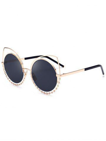 Latest Metal Rhinestone Cat Eye Sunglasses GLOD FRAME + BLACK LENS