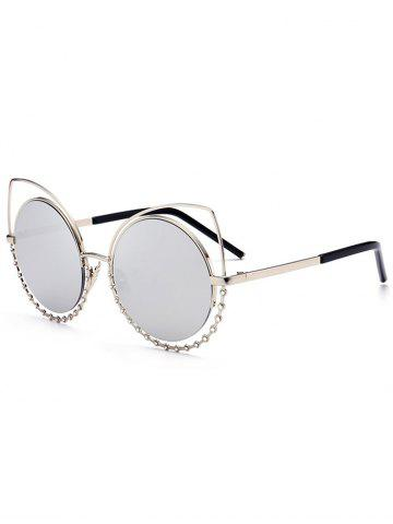 New Metal Rhinestone Cat Eye Sunglasses - SLIVER FRAME+MERCURY LENS  Mobile