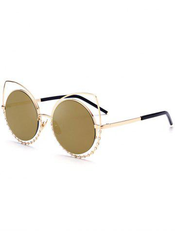 Trendy Metal Rhinestone Cat Eye Sunglasses GOLE FRAME + GOLD LENS