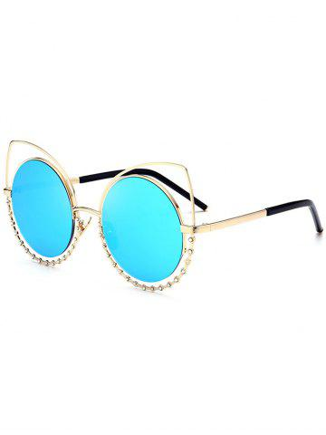 Hot Metal Rhinestone Cat Eye Sunglasses