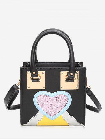 Shops Glitter Color Block Heart Handbag
