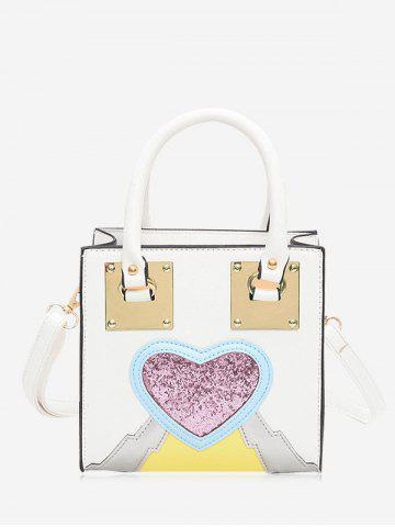 Chic Glitter Color Block Heart Handbag