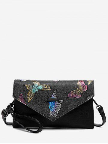 Hot Faux Leather Embossing Crossbody Bag - BLACK  Mobile