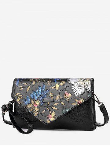 Faux Leather Embossing Crossbody Bag Multicolore