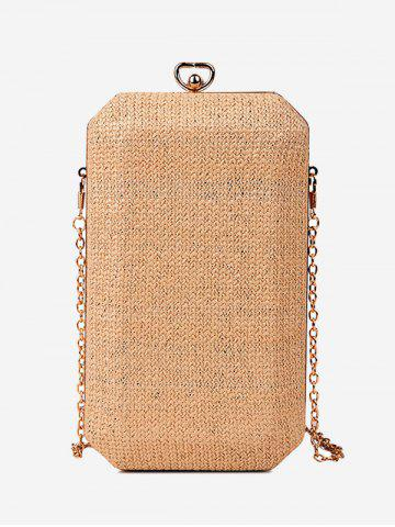 Sale Chain Straw Metal Crossbody Bag - BROWN  Mobile