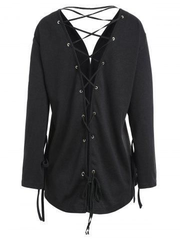 New Open Front Plus Size Back Lace-up Jacket - XL BLACK Mobile