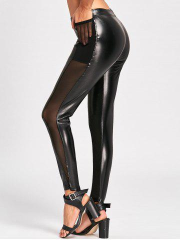 Online Sheer Mesh Insert High Waist Faux Leather Pants BLACK M