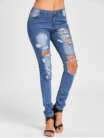 Cheap Cut Out Distressed Skinny Jeans - L BLUE Mobile