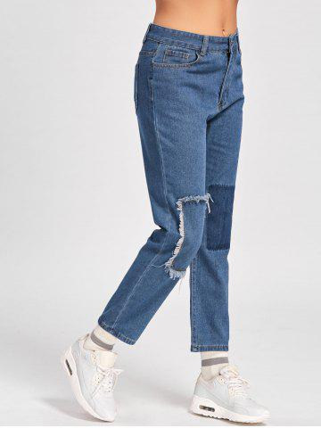 Hot Capri Patched Jeans BLUE M