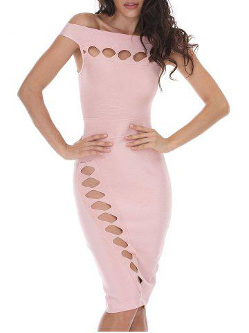 Cheap Off Shoulder Cut Out Bodycon Bandage Dress - M PAPAYA Mobile