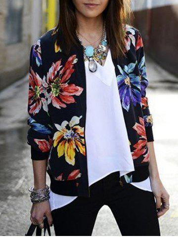 Sale Floral Jacket - S BLACK Mobile