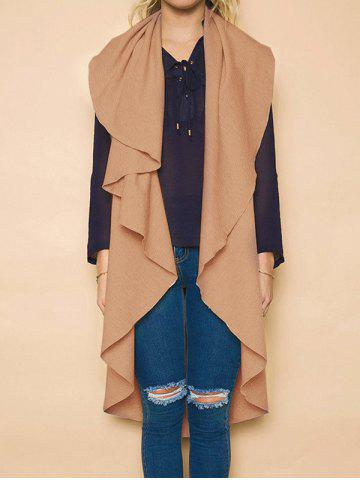 New High Low Draped Vest CAMEL S