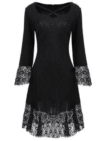 Cheap Brocade Lace Sweetheart Neck Dress BLACK S