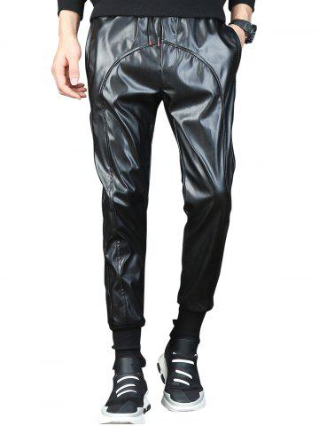 Chic Beam Feet Drawstring Faux Leather Pants - 32 BLACK Mobile