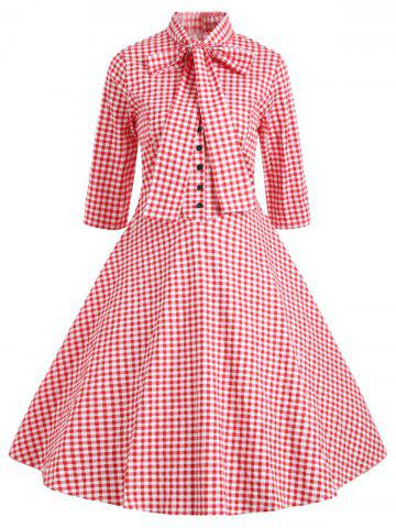 Outfits Vintage Bowknot Plaid Skater Dress