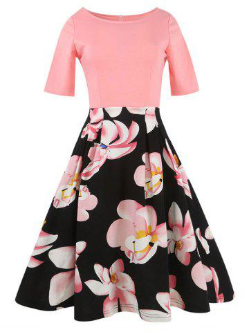 Hot Floral Vintage Pleated A Line Dress