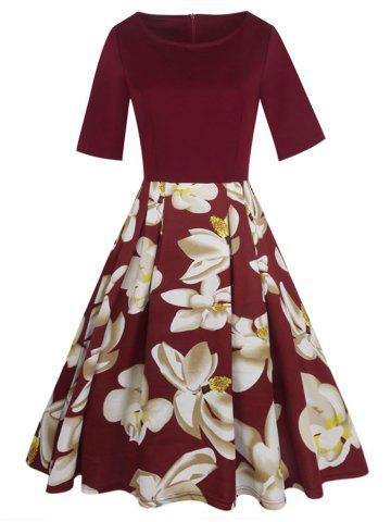 Hot Floral Vintage Pleated A Line Dress RED S