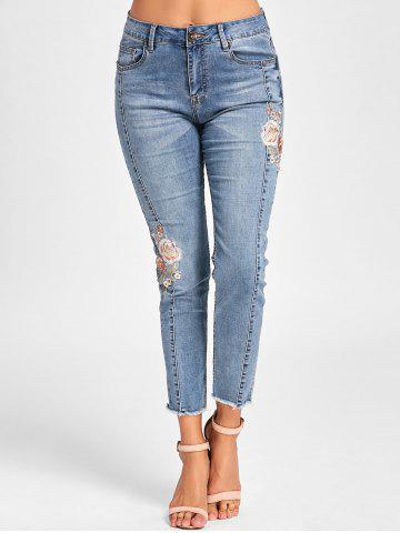 Fashion Embroidery Embellished Cigarette Jeans - L DENIM BLUE Mobile