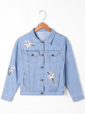 Unique Flap Pockets Narcissus Embroidery Denim Jacket LIGHT BLUE M