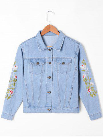 Buy Flap Pockets Embroidery Jean Jacket - M LIGHT BLUE Mobile