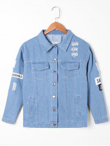 Chic Appliqued Frayed Denim Jacket DENIM BLUE M
