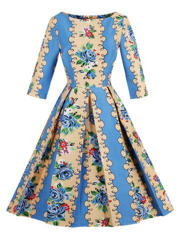 Best Retro Floral Fit and Flare Dress - S BLUE AND YELLOW Mobile