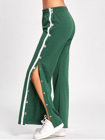Chic Wide Leg Side Slit Button Up Pants GREEN M