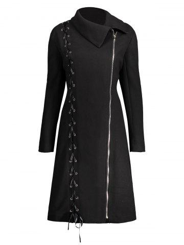 Online Zip Up Plus Size Lace Up Coat BLACK XL