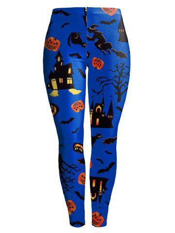 New Witch Pumpkin Castle Halloween Leggings BLUE S