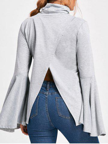 Trendy Flare Sleeve High Neck Top LIGHT GRAY M