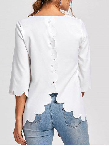 Online Button Embellished Scalloped Edge Blouse WHITE XL
