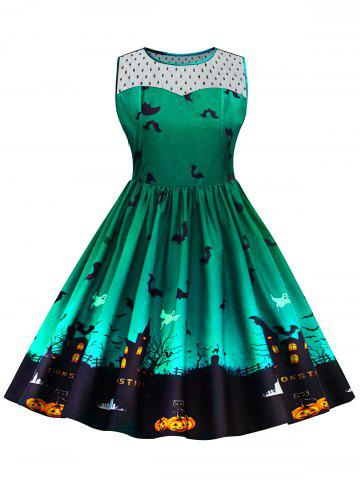 New Plus Size Halloween Lace Panel Dress