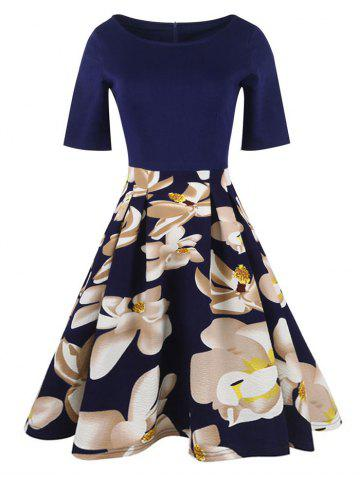 Store Floral Vintage Pleated A Line Dress